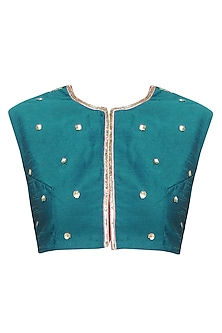 Teal Floral Pattern Resham Embroidered Blouse by Aharin India