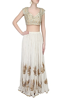 Dull Gold Zari Thread Embroidered Leaves Pattern Blouse by Aharin India