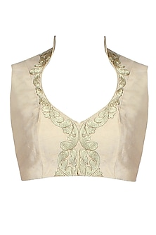 Light Gold Paisley Motifs Collared Blouse by Aharin India