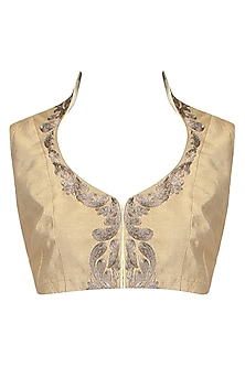 Antique Gold Paisley Motifs Collared Blouse by Aharin India