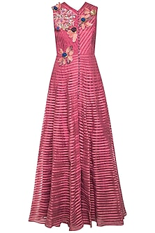 Onion pink embroidered anarkali set