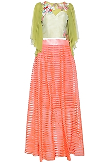 Lime ruffle embroidered top with peach lehenga skirt
