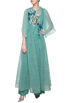 Sea green embroidered anarkali set by Aharin India