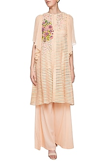 Peach embroidered anarkali set by Aharin India