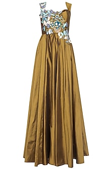 Dark gold embroidered gown