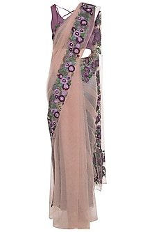 Mauve embroidered saree set