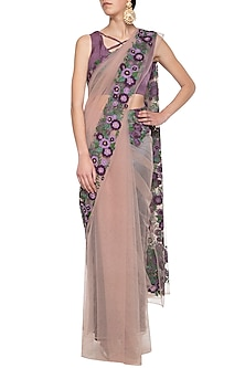 Mauve embroidered saree set by Aharin India