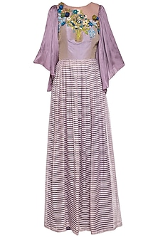 Mauve embroidered anarkali set