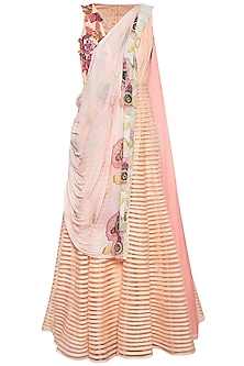 Peach embroidered striped anarkali set