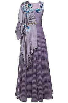 Violet draped kurta with palazzo pants