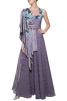 Violet draped kurta with palazzo pants by Aharin India