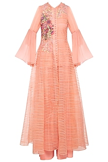 Peach patch embroidered anarkali set