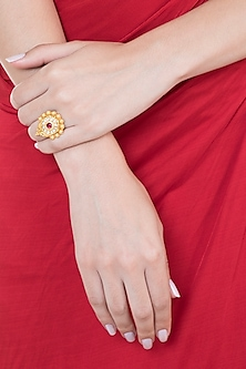 Gold Plated Stone & Kundan Floral Hexagon Ring