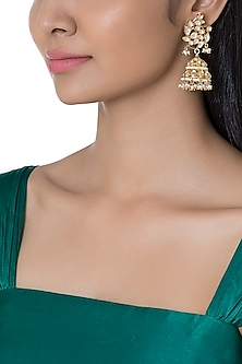 Gold Plated Pearl & Kundan Bird Motif Jhumka Earrings