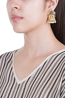 Gold Plated Pink Glass Stones & White Bead Jhumka Earrings