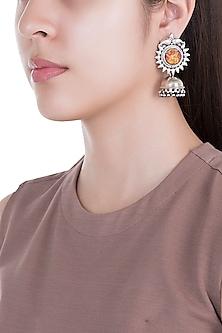 Silver Plated Ganesha Painted Jhumka Earrings by Ahilya Jewels