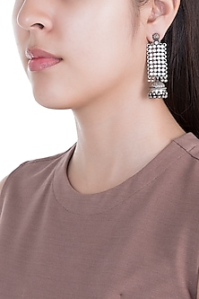 Silver Plated Carved Earrings by Ahilya Jewels