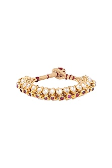 Gold Plated Glass Stones & Kundan Bracelet by Ahilya Jewels