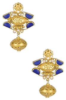Gold Plated Lapis Lazuli And Pearl Cabochons Earrings by Ahilya Jewels