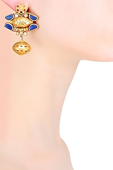 Gold Plated Lapis Lazuli And Pearl Cabochons Earrings