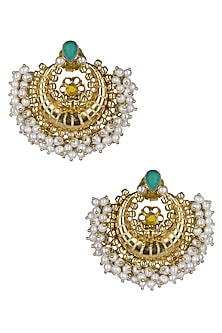 Gold Plated Pearls Fringed Traditional Chandbali Earrings by Ahilya Jewels