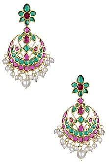 Gold Plated Green Cabochons Flower Dangler Earrings by Ahilya Jewels