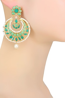 Gold Plated Flower Design Earrings by Ahilya Jewels