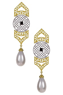 Gold Plated Pearl Drop Dual Tone Three Tier Structure Earrings by Ahilya Jewels