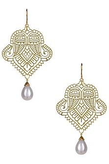 Gold Plated Paisley Motif Earrings by Ahilya Jewels