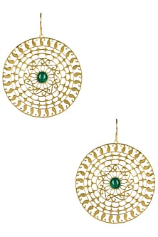 Gold Plated Green Onyx Paisley Motif Earrings by Ahilya Jewels
