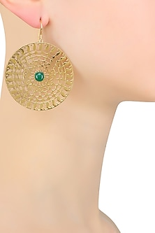Gold Plated Green Onyx Paisley Motif Earrings