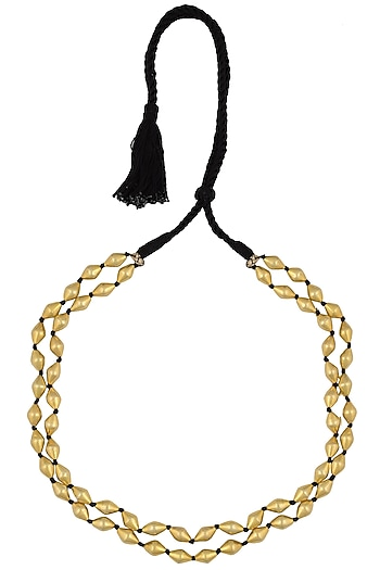 Gold Plated Dholki Shaped Beads Double Strand Necklace by Ahilya Jewels