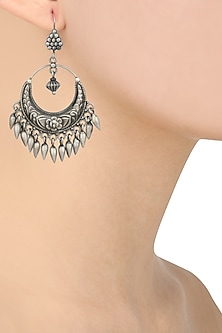 Silver Finish Crescent Shaped Earrings