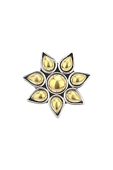 Silver Finish Floral Gold Stones Ring by Ahilya Jewels