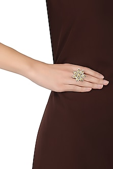 Silver Finish Floral Gold Stones Ring