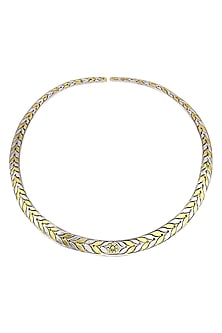 Gold Plated Leaf Pattern Necklace by Ahilya Jewels