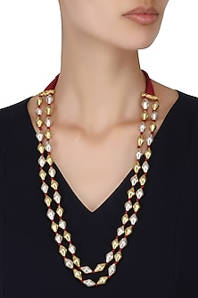 Gold Plated Dholki Beads Double Strand Necklace by Ahilya Jewels