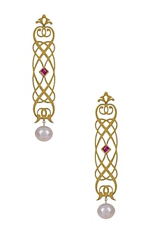 Gold Plated Byzantine Motif Elongated Earrings by Ahilya Jewels