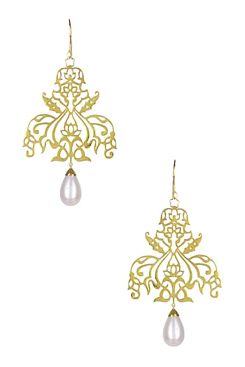 Gold Plated Floral Design Large Earrings by Ahilya Jewels