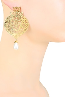 Gold Plated Pearl Floral Design Earrings