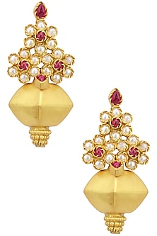 Gold Plated Cabochons Floral Motif Earrings by Ahilya Jewels