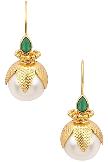 Gold Plated Green Onyn and Pearl Drop Earrings by Ahilya Jewels