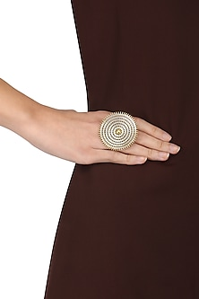 Dual Finish Rawa Work Ring by Ahilya Jewels