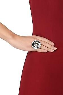 Silver Finish Pearls Studded Floral Ring