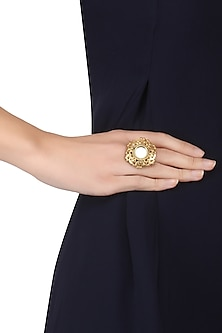 Gold Plated Mirror and Floral Cutwork Ring