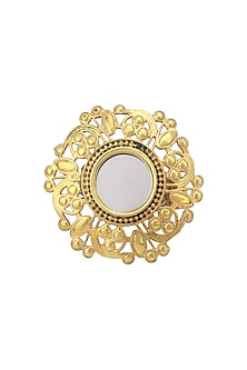 Gold Plated Mirror and Floral Cutwork Ring by Ahilya Jewels