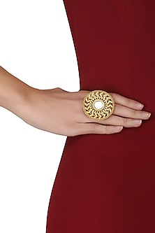 Gold Plated Mirror and Foliate Detailing Cocktail Ring by Ahilya Jewels