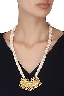 Gold Plated Temple Pearl String Necklace