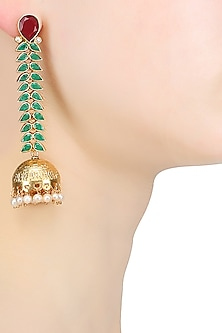 Gold Plated Vine Of Green Stones And Red Onyx Jhumki Earrings