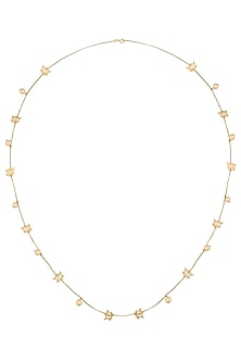 Gold Plated Lotus Motif Chain Necklace by Ahilya Jewels